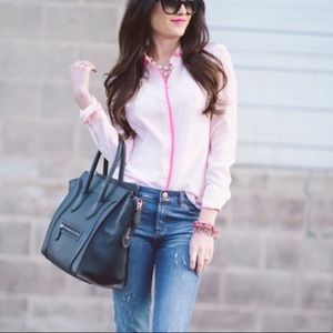 J.Crew Pink Silk Tipped Blouse